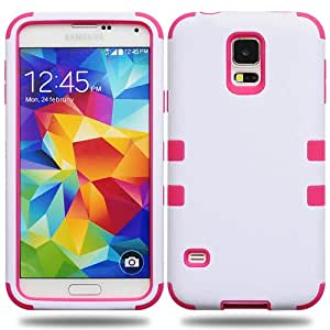 Casea Packing White Pink Shock Proof Hybrid Rugged Hard Cover Case For Samsung Galaxy S5