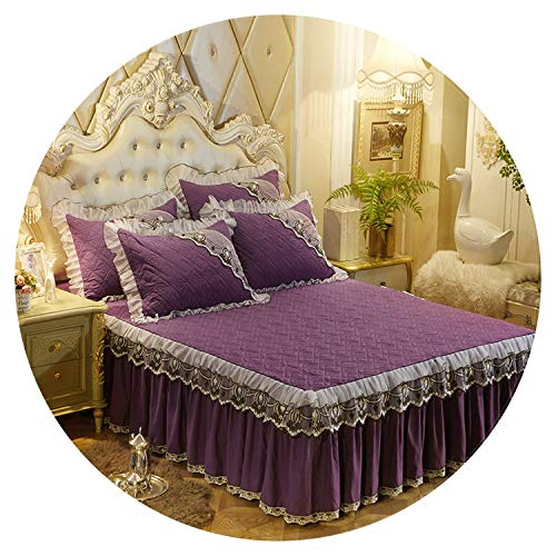 European Luxury Bedspreads and 2PCS Pillowcase Thick Cotton Bed Skirt with Lace Edge Twin Queen King Size Bedding Set Non-Slip,Plum,120x200cm-3pcs ()