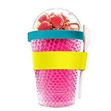 Asobu Chill Yo2go for a 13Oz Cold Yogurt Parfait Breakfast on the go with a Melamine Spoon and Silicone Holder (Pink)