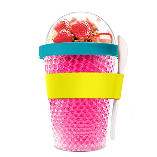 Asobu Chill Yo2go for a 13 ounce Cold Yogurt Parfait Breakfast On the Go with a Melamine Spoon and Silicone Holder (Pink) (Glass Sandwich Milk)