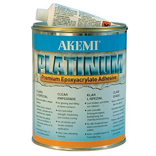 Akemi PLATINUM Clear Premium Epoxyacrylate Adhesive Transparent Knife Grade, Quart (900ml) Polyester Glue for Natural & Engineered Stone Filling & -