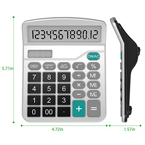 Calculator, Splaks Standard Functional Desktop Calculator Solar and AA Battery Dual Power Electronic Calculator with 12-Digit Large Display (2 Silver Calculator with Root Keys) by Splaks (Image #3)