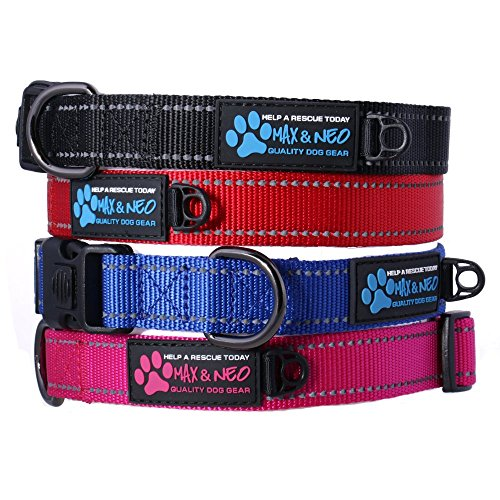 Max and Neo&Trade; NEO Nylon Buckle Reflective Dog Collar - We Donate a Collar to a Dog Rescue for Every Collar Sold (Small, Black)