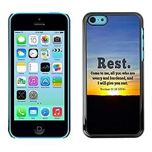 Qstar Arte & diseño plástico duro Fundas Cover Cubre Hard Case Cover para Apple iPhone 5C (REST - MATTHEW 11:28)