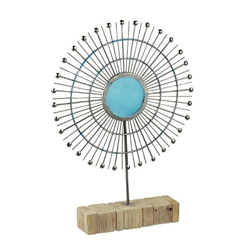 Metal Tabletop Radiant Sun Sculpture with Turquoise Glass 465006