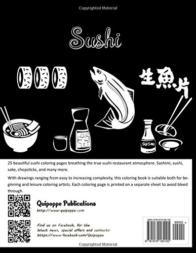Sushi Coloring Book For Fun Stress Relief And Meditation Quipoppe Publications 9781979165105 Amazon Books