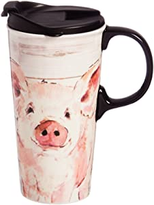 Pretty Pink Pig 17 OZ Ceramic Cup - 4 x 5 x 7 Inches