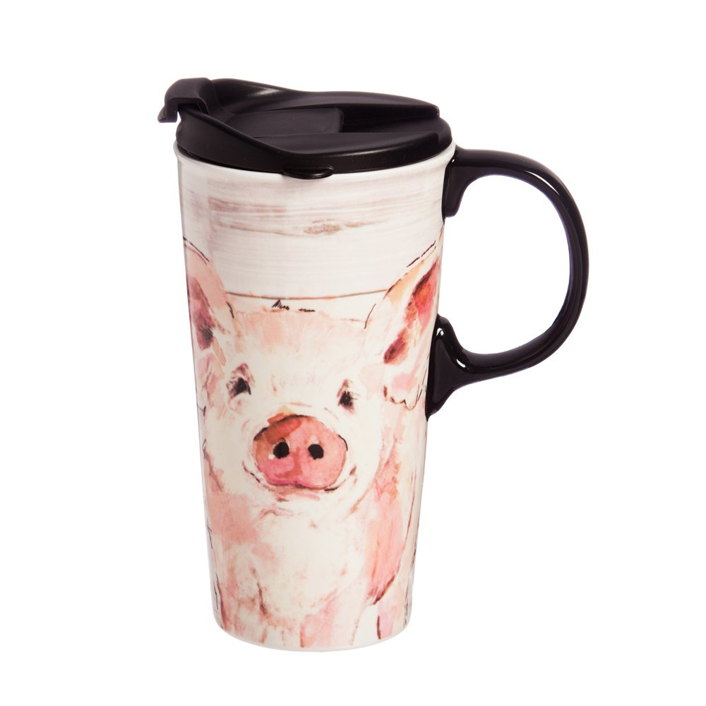 "Cypress Home Pretty Pink Pig 17 oz Boxed Ceramic Perfect Travel Coffee Mug or Tea Cup with Lid - 3""W x 5.25''D x 7''H"