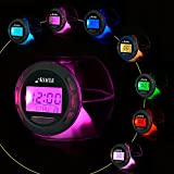 Alarm Clock, KSACLE Wake Up Light Clock for Kids Child Toddler Adults, Digital Sleep Night Light with Temperature Display & Nature Sound - 7 Colors Changing