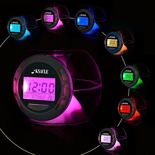Alarm Clock, KSACLE Wake Up Light Clock for Kids Child Toddler Adults, Digital Sleep Night Light with Temperature Display & Nature Sound - 7 Colors Changing - Kid Clock