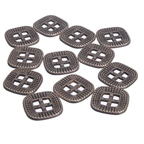 Zinc Diecasted Metal Button - Square Rounded Edges - Square Holes - Dotted Pattern - 24 Line - Ant. Silver