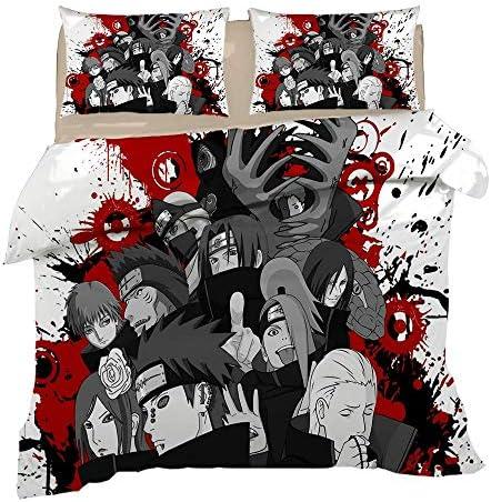 142 AOSISAN Anime 3Pcs Noir Et Blanc Ensemble De Literie Impression 3D Naruto Housse De Couette Ensemble Doux (Pas De Couette),Double2(200x200)
