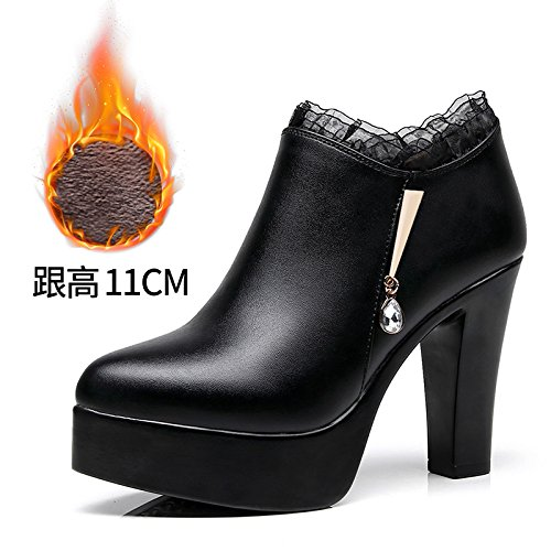 Velvet Des Plus 33 Code De Nombre Femmes Petit Chaussures Ultra Velours 32 Un Unique Impermable Le 43 pais Cuir Avec profond Taiwan Grand En L'eau Black 1R4qp