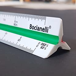"Professional 30cm 12"" Metric Plastic Triangular Scale Ruler 1:10 1:20 1:25 1:30 1:40 1:50 / 1:100 1:200 1:250 1:300 1:400 1:500 in a Case"