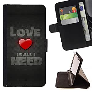 BETTY - FOR LG G2 D800 - Love Is All I need - Style PU Leather Case Wallet Flip Stand Flap Closure Cover
