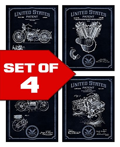 (Wallables Navy Blue Vintage Harley Motorcycle Patents! Set of Four 8x10 Decorative Prints, Great for Bachelor pad, Office, Living)