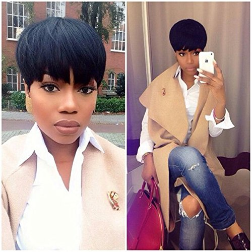 Cool2day Human Hair Wigs Pixie Cut Short Brazilian Wig Average Cap Size Color 1B by cool2day