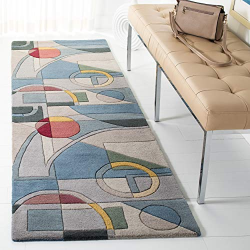 Safavieh Rodeo Drive Collection RD845B Handmade Mid-Century Modern Abstract Wool Runner, 2'6″ x 14′ , Blue / Multi