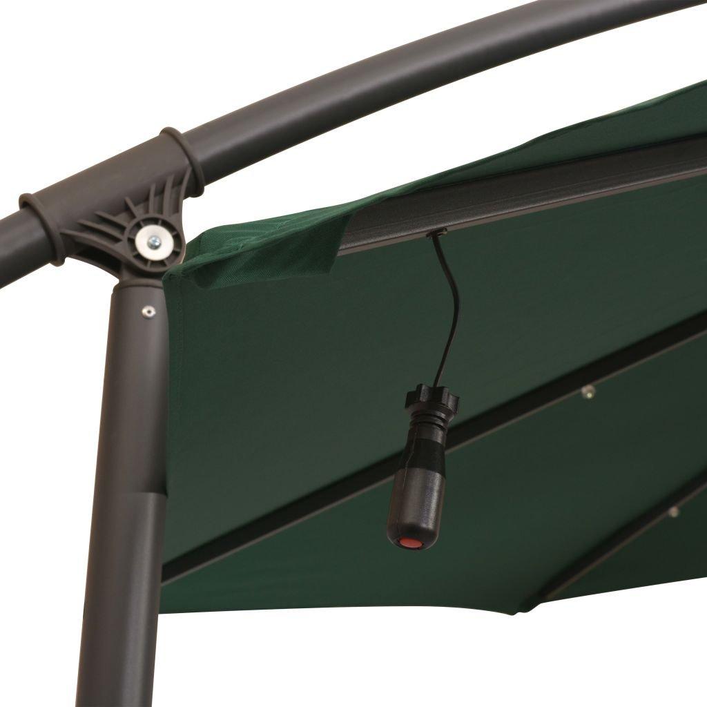 Festnight Ombrellone Pensile Parasole Regolabile con Luci LED 300 cm Verde//Sabbia Palo in Metallo da Giardino da Piscina da Patio da Balcone per Esterno