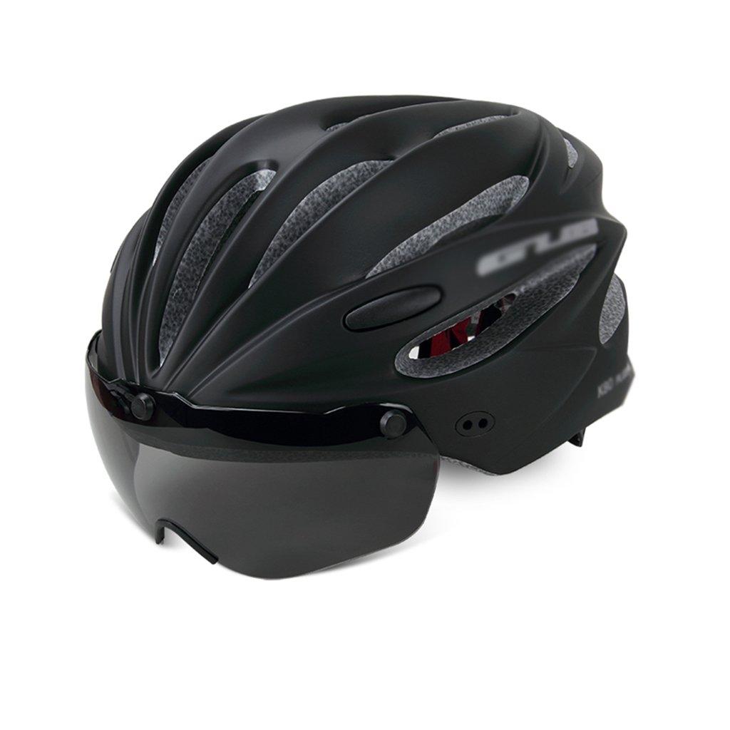 Bao Xing Bei Firm Fullface- & BMX-Helme Helm Fahrrad mit Schutzbrille Brille mit Einem Reithelm Herren- und Damenhelme (Farbe   schwarz, Größe   Head Circumference  55-62 cm)