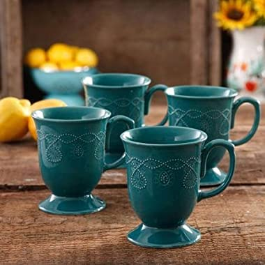 The Pioneer Woman Cowgirl Lace Teal Mug Set, Set of 4, Features Transparent glaze & Dishwasher Safe