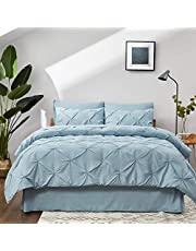 Bedsure Pintuck Bed in A Bag, Pinch Pleat Comforter Set with Flat Sheet, Fitted Sheet, Bed Skirt