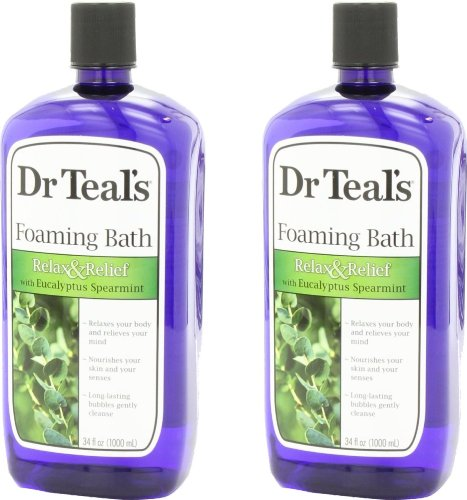Dr. Teal's Foaming Bath, Eucalyptus Spearmint, 68 Fluid Ounce (34oz per bottle)