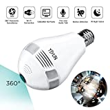 YELIN Security Camera WIFI 960P HD 360 Degree Wireless Panoramic IP Camera, Bulb Type with LED Light Night Vision Motion Detection Support SD Card for Pet Baby Home Office Monitor