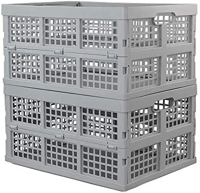 Hespapa 35 Quart Folding Crates, Plastic Collapsible Storage Container Milk Crate Baskets(Grey, 2 Pack)