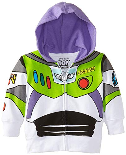 Disney Little Boys' Buzz Lightyear Hoody Toddler, White, 4T -