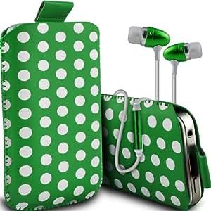 Nokia Lumia 820 Protección Premium Polka PU ficha de extracción Slip Cord En Pouch Pocket cubierta de la caja de liberación rápida y de calidad superior de la piel en auriculares de botón estéreo de manos libres de auriculares Auriculares con micrófono Mic y botón de encendido-apagado verde y blanco por Spyrox