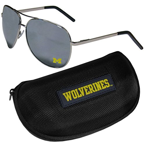 NCAA Michigan Wolverines Aviator Sunglasses & Zippered Carrying ()