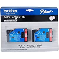 2/Pack 1/2 (12mm) Red on White P-touch TC Tape for Brother PT-12, PT12 Label Maker