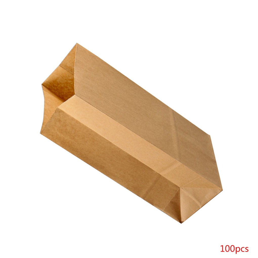 MuLuo 100pcs Kraft Paper Baking Oil-proof Takeaway Blank Food Packaging Bag Recyclable Jewelry Bread Shopping Party Bags by MuLuo (Image #2)