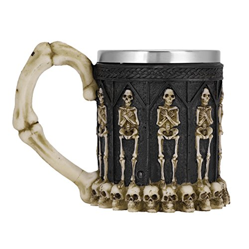 QCHOMEE Gothic Viking Tribal Stainless Steel Skeletal Skull Bone Armor Wine Coffee Tea Mug Beer Mugs Cool Creepy Collectibles Gift for -