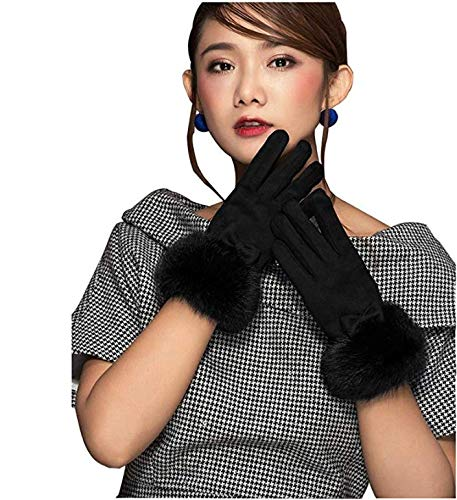 HYSENM Women Suede Leather Winter Lining Touch Screen Rabbit Fur Driving Gloves, - Gloves Leather Blk