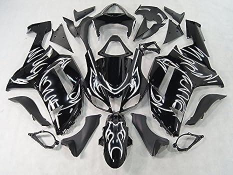 Moto Onfire ABS Injection Plastic Fairings Kits Fit for Kawasaki Ninja ZX6R 636 2007 2008 (Black White Flame)