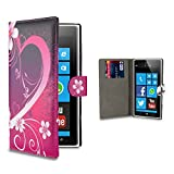 32nd® Design book wallet PU leather case cover for Nokia Lumia 920 + screen protector and cleaning cloth - Love Heart
