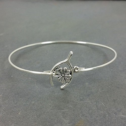 Lucky Four Leaf Clover in Wishbone Bangle Bracelet - Sterling Silver Plated