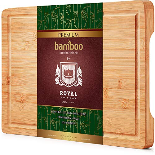 Block Of Cheese (Organic Bamboo Cutting Board with Juice Groove - Best Kitchen Chopping Board for Meat (Butcher Block) Cheese and Vegetables | Anti Microbial Heavy Duty Serving Tray w/Handles (Thick)