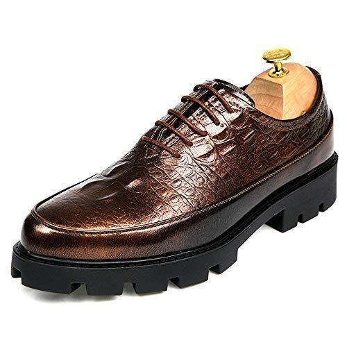 Xiaojuan-shoes, Scarpe da uomo in pelle verniciata in poliuretano con suola in coccodrillo da uomo Fashion Fashion Business,Scarpe Uomo Pelle (Color : Nero, Dimensione : 43 EU) Gold