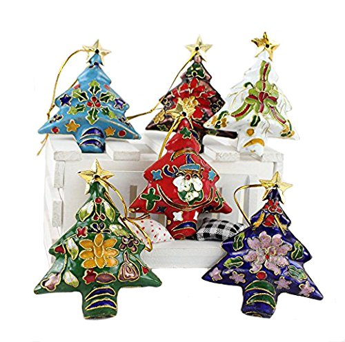 ARTIST Collectibles 10pcs Chinese Handmade Cloisonne Enamel Christmas Tree Ornament Charm