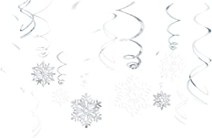 """Amscan 679497 Snowflake Foil Swirls Value Pack, 12 Ct. 