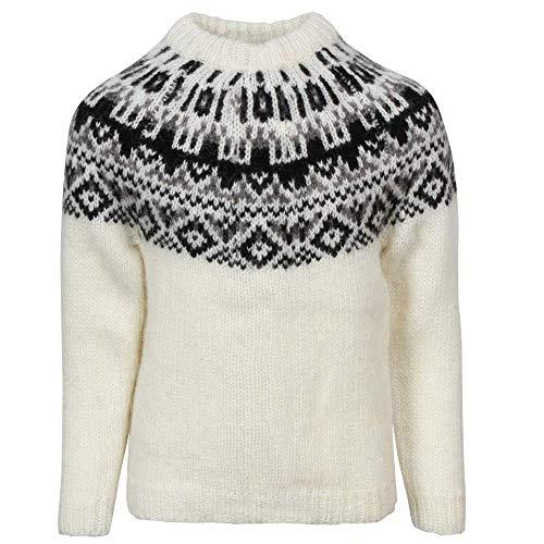 ICEWEAR Elmar Kid's Sweater Lopapeysa Design 100% Icelandic Wool Long Sleeve Crew Neck Winters Sweater Without Zipper - White - Icelandic Wool Sweaters
