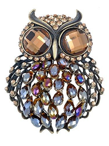 Brass Crystal Brooch - Alilang Brass Tone Topaz Rainbow Crystal Rhinestone Big Eyes Owl Bird Brooch Pin