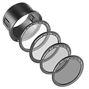 Neewer for DJI Phantom 3 Professional, Advanced and Standard 37MM Filter Kit: UV Filter + Polarizing Filter + ND4 Filter + ND8 Filter + Snap-on Adapter Ring + Filter Pouch