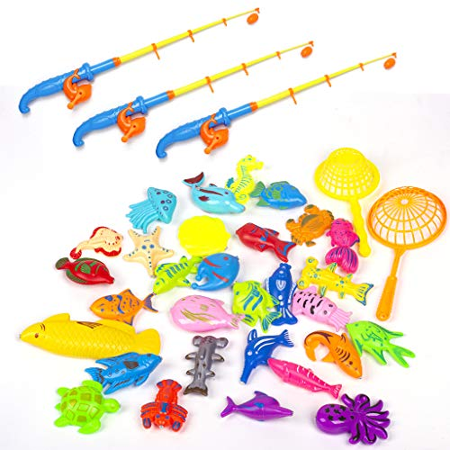 DAIZIKUAI Bath Toys for Toddlers-Magnetic Fishing Game Pool Toys, 1 Net Bag Storage Bag Containing What You Need,Fish, Fishing Rods, Net Fish and 1clockwork Whale,Let Fishing Happy Time for Kids