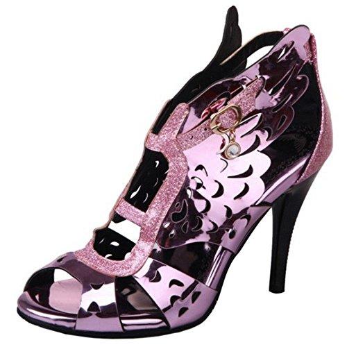 Pink Aiguille Slingback TAOFFEN Creux Chaussures Toe à Talon Femmes Peep Sandales 4v1q40a
