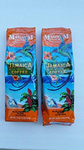 Magnum Exotics Jamaican Blue Mountain Blend Coffee, Ground (2) 1 Pound Bags