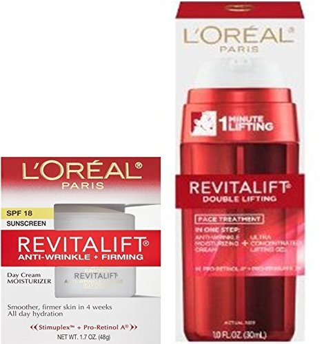 - Loreal Paris Revitalift Double Lifting Face Treatment and Anti Wrinkle + Firming Day Cream Moisturizer (2 Pack)